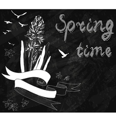 Blackboard chalk Spring Background with hyacinth vector