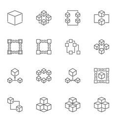 blockchain icons or logo elements in vector image