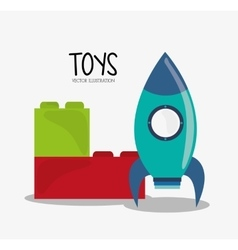 Blocks and rocket toy and game design vector