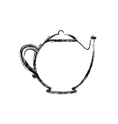 blurred silhouette teapot drink icon flat vector image