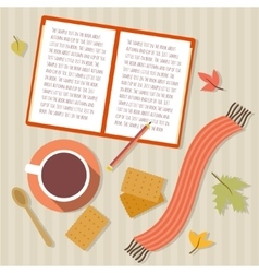 Book cup of tea cookies scarf and autumn leaves vector