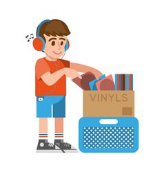 Boy looking old vinyl vector