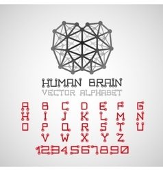 Brain style technical alphabet font set vector