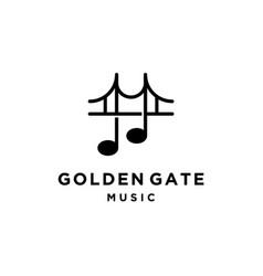 Bridge with music notes logo design vector