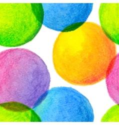 bright rainbow colors watercolor painted circles vector image