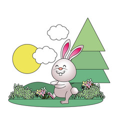bunny in parkscape vector image