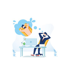 business man is relaxing and dreaming about vector image