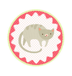 cat badge vector image