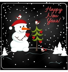 christmas chalkboard decoration with snowman vector image