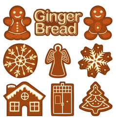 christmas ginger bread cookie colorful bright set vector image