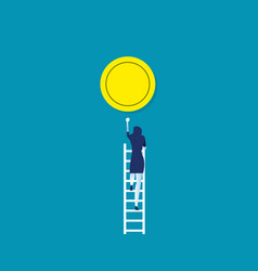 Climbs up to gold coinconcept business vector