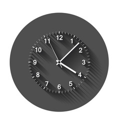 clock icon office clock with long shadow vector image