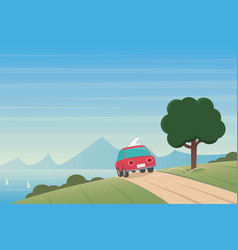 coast landscape and car on a road scene vector image