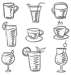 Collection stock drink doodle set vector