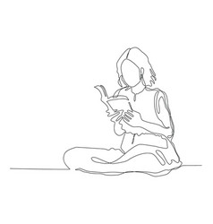 Continuous line drawing woman girl sitting vector