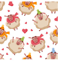 cute cartoon sheep seamless pattern design vector image