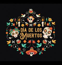 Day dead spanish language sugar skull card vector