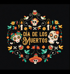 day of the dead spanish language sugar skull card vector image