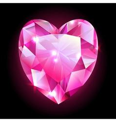 Design element red heart shaped diamond vector