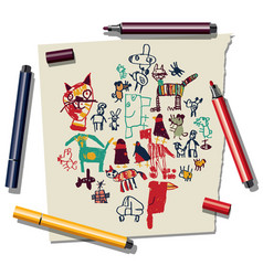doodles drawing and paper and felt pen isolate on vector image