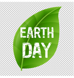 Earth day leaf and transparent background vector