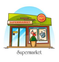 exterior view on supermarket building shop store vector image