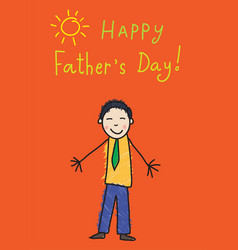 fathers day kids drawing asian man vector image