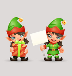 female elf santa claus girl helper christmas new vector image