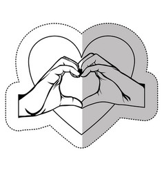 figure hand with heart shape with inside breast vector image