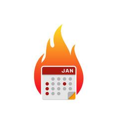 fire calendar logo icon design vector image