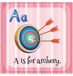 Flashcard letter a is for archery vector