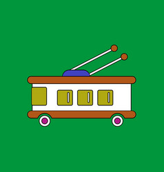 Flat icon design collection trolleybus silhouette vector