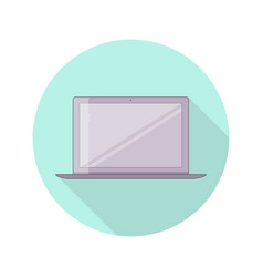 flat laptop color round icon in flat style vector image