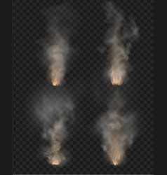 Fog and smoke fire isolated on transparent vector