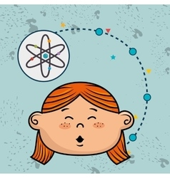 Girl cartoon atom icon vector