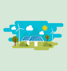 green eco energy flat design concept vector image
