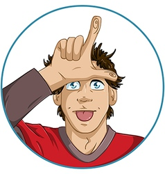 Guy Shows Loser Signal With His Fingers vector image