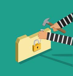 Hacker trying to unlock folder vector