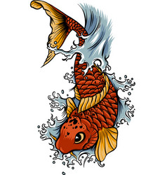 Hand drawn outline koi fish and water splash vector