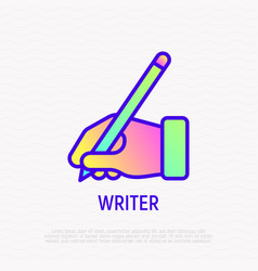 hand with pen thin line icon writer sign vector image
