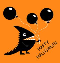 Happy halloween black silhouette monster vector