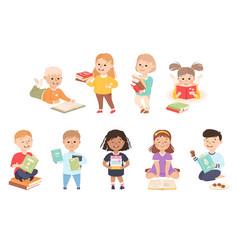 happy little children reading books set preschool vector image