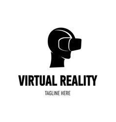 head with virtual reality goggles vector image