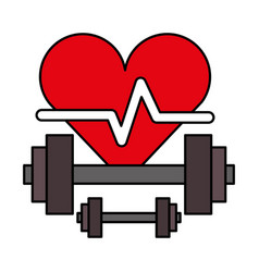 Heartbeat and dumbbells weight healthy life vector