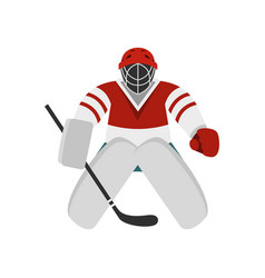 Hockey goalkeeper icon flat style vector