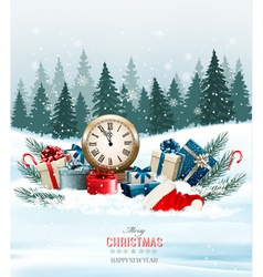 Holiday background with presents vector image