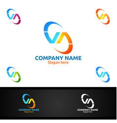 letter v a va for digital logo marketing vector image
