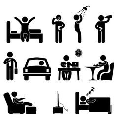 Man daily routine icon sign symbol pictograph vector