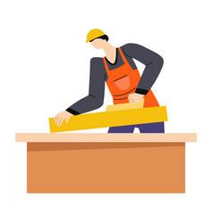 Man grinding wooden beam with sanding machine vector
