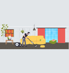 Man using vacuum cleaner male janitor in uniform vector